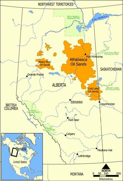 Месторождения нефтяного песка в провинции Альберта